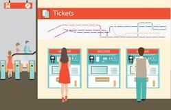 Люди покупая билет для поезда бесплатная иллюстрация