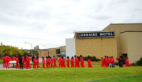 Люди посещая мотель Лорена стоковые изображения rf