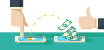 Люди посылая и получая радиотелеграф денег с их мобильными телефонами Стоковое Изображение RF