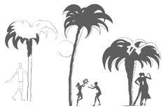 Люди под пальмами Остатки морским путем Стоковое Изображение