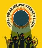 Люди празднуют наблюдать солнечное затмение с защитными стеклами иллюстрация штока