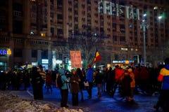 Люди протестуя против коррупции, Бухарест, Румыния Стоковое Изображение RF