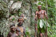 Люди племени папуасския Yafi в традиционных одеждах, орнаментах и расцветке Стоковое фото RF