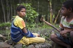 Люди племени Dani на поле Стоковое Изображение
