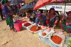 Люди племени Hmong продавая перец chili и другие продукты земледелия стоковые фото