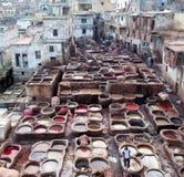 Люди работая крепко в souk дубильни в Fez, Марокко Стоковая Фотография RF