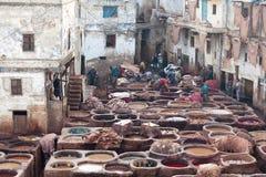 Люди работая крепко в souk дубильни в Fez, Марокко Стоковые Фото