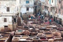 Люди работая крепко в souk дубильни в Fez, Марокко Стоковое Изображение RF