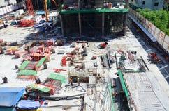 Люди работая на строительной площадке на Бангкоке Таиланде Стоковое фото RF