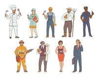 Люди различных профессий в прозодеждах и с инструментами в руке Эскиз покрашенный вектором реалистической иллюстрации Женщины и л Стоковое фото RF