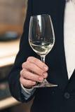 Люди рассматривают цвет вина и попытки как они пахнут в различных стеклах Стоковые Изображения RF