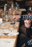 Люди рассматривают цвет вина и попытки как они пахнут в различных стеклах Стоковые Изображения