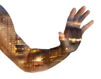 Люди руки двойная экспозиция Стоковая Фотография RF