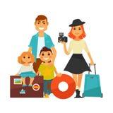 Люди семьи путешествуют отключение каникул значков женщины, человека и детей вектора плоское Стоковые Изображения RF