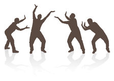 Люди силуэта поднимаясь и нажимая Стоковое Изображение
