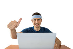 Люди с большими пальцами руки поднимают онлайн держать пари Стоковое Изображение RF
