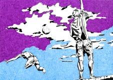 Люди с шариком Бесплатная Иллюстрация