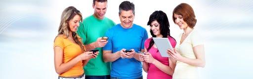 Люди с smartphones Стоковое Изображение