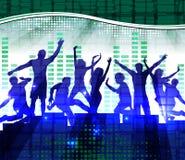 Люди танцев, предпосылка музыки Стоковые Изображения