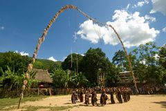 Люди танцуя во время фестиваля буйвола Стоковая Фотография RF