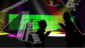 Люди танцуя с зелеными экранами иллюстрация штока