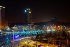 Люди формируя флаг Европейского союза на Бухаресте, Румынии Стоковая Фотография