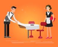 Люди характера вектора детальные в ресторане Стоковые Фото