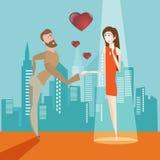 Люди шаржа в влюбленности Стоковое Изображение
