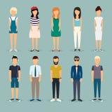 Люди шаржа группы Социальная сеть и социальная концепция средств массовой информации Стоковое Фото