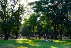 Люди jogging и задействующ в общественном парке в раннем утре на парке Wachirabenchathat или общественном парке железной дороги п Стоковые Фотографии RF
