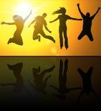 люди silhouettes детеныши Стоковая Фотография