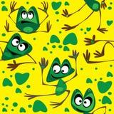 Лягушка безшовная на зеленом цвете Стоковые Фотографии RF