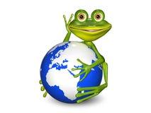 Лягушка на глобусе Стоковое Изображение