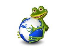 Лягушка на глобусе Стоковые Фото
