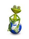 Лягушка на глобусе Стоковое Фото