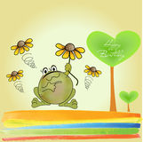 лягушка счастливая Иллюстрация вектора
