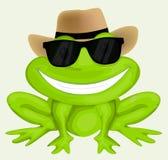 Лягушка шаржа в солнечных очках Стоковая Фотография