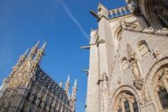 Лёвен - готические ратуша и собор St Peters Стоковые Фото