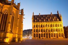 Лёвен - готические ратуша и собор St Peters Стоковая Фотография RF