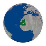 Мавритания на политическом глобусе Стоковое Фото