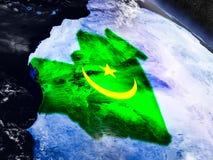 Мавритания с врезанным флагом от космоса иллюстрация штока