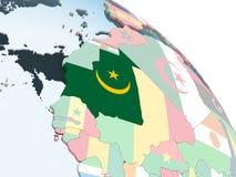 Мавритания с флагом на глобусе бесплатная иллюстрация