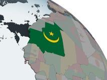 Мавритания с флагом на глобусе иллюстрация вектора