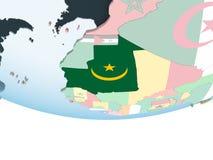 Мавритания с флагом на глобусе иллюстрация штока