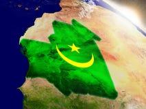 Мавритания с флагом в восходящем солнце Стоковое Изображение