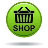 Магазина кнопка цвета теперь зеленая круглая Стоковое Изображение