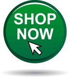 Магазина кнопка цвета теперь зеленая круглая Стоковое Изображение RF