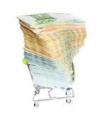 Магазинная тележкаа вполне денег евро Стоковые Фото