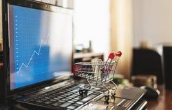 Магазинная тележкаа на компьтер-книжке компьютера прочешите покупка руки фокуса dof он-лайн отмелая очень стоковое фото rf