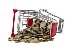 Магазинная тележкаа с деньгами Стоковые Фотографии RF